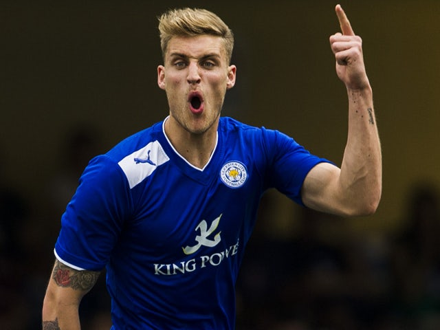 George Taft of Leicester City celebrates after scoring against Sunderlanl on day three of the Hong Kong International Soccer Sevens at Hong Kong Football Club on May 26, 2013