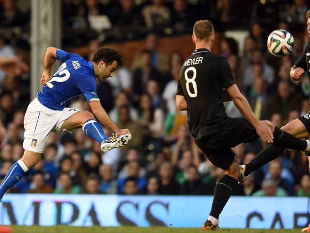 Giuseppe Rossi of Italy in action during the International Friendly match between Italy and Ireland at Craven Cottage on May 31, 2014