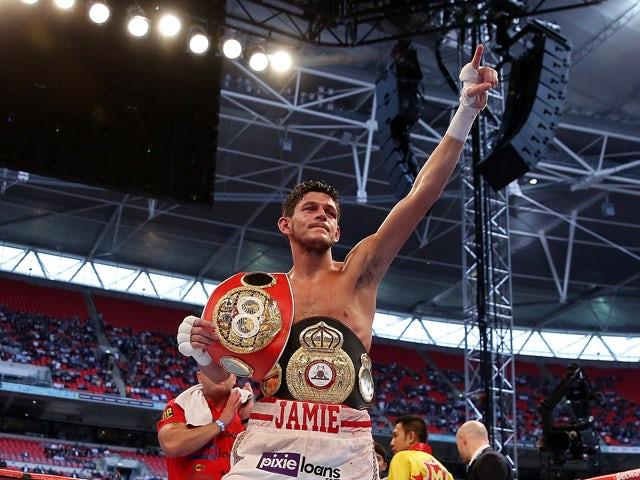 Jamie McDonnell celebrates his victory over Tabttimdaeng Na Rachawat during their WBA World Bantamweight Championship bout at Wembley Stadium on May 31, 2014