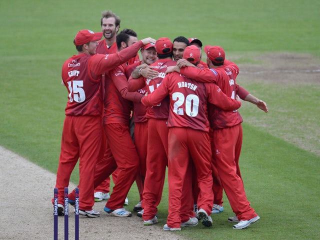 Lancashire celebrate winning the Natwest T20 Blast match between Durham Jets and Lancashire Lighting at The Riverside on May 29, 2014