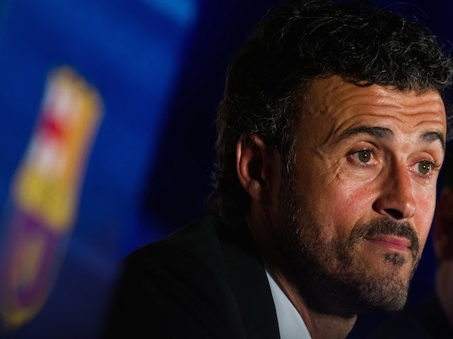 Luis Enrique Martinez faces the media during his official presentation as the new coach of FC Barcelona at Camp Nou on May 21, 2014
