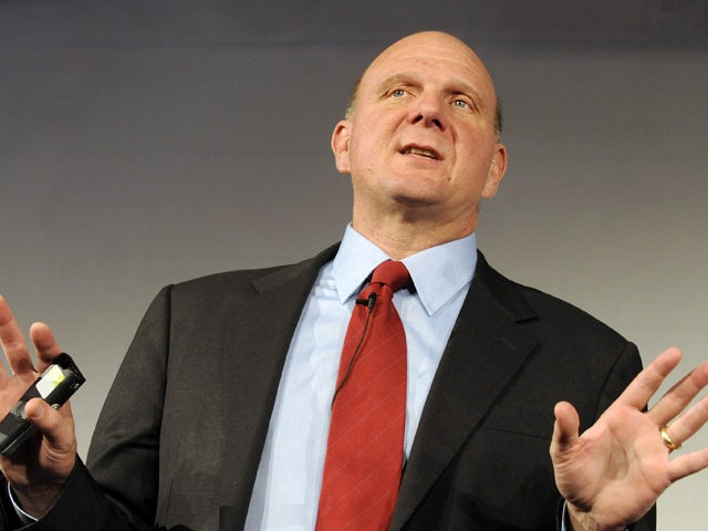 Steve Ballmer, Chief Executive Officer of Microsoft Corporation gestures during the presentation of the operating system 'Windows 7' in Munich, southern Germany on October 7, 2009