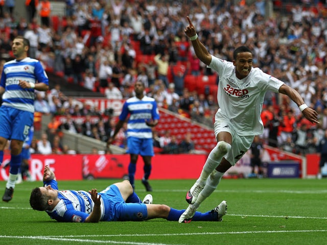 Scott Sinclair of Swansea scores the second goal of the game during the npower Championship Playoff Final between Reading and Swansea City at Wembley Stadium on May 30, 2011