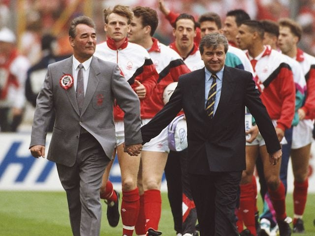Terry Venables joyfully holding hands with Brian Clough in 1991