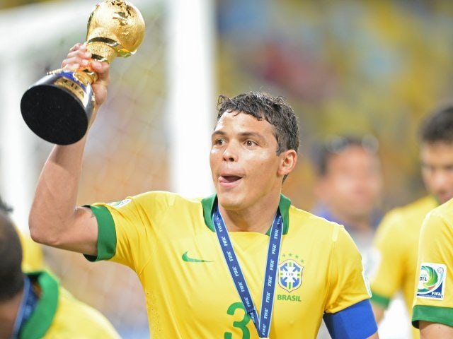 Brazil captain Thiago Silva celebrates winning the Confederations Cup on June 30, 2013.