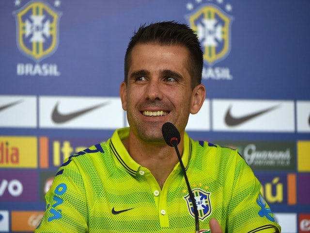 Brazilian national goalkeepers Victor attends a press conference at the squad's Granja Comary training complex, in Teresopolis, 90 km from downtown Rio de Janeiro on May 27, 2014