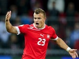Bayern Munich winger Xherdan Shaqiri celebrates scoring for Switzerland on October 12, 2012.