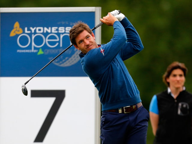 Adam Gee of England tees off during the Lyoness Open day one at the Diamond Country Club on June 5, 2014