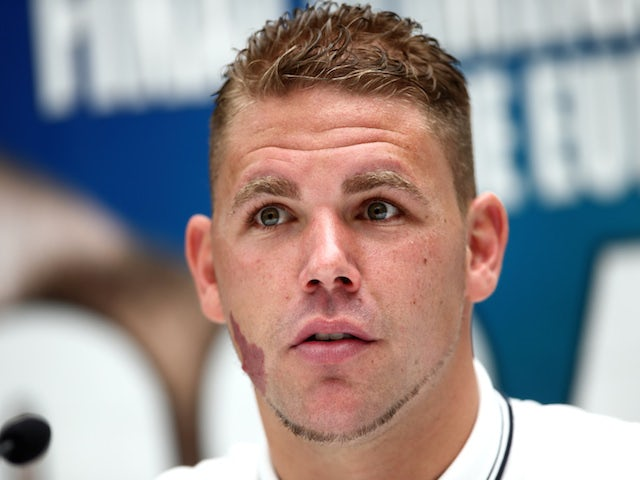 Billy Joe Saunders talks during the press conference to discuss two separate upcoming fights featuring Billy Joe Saunders and Chris Eubank Jnr. on June 3, 2014
