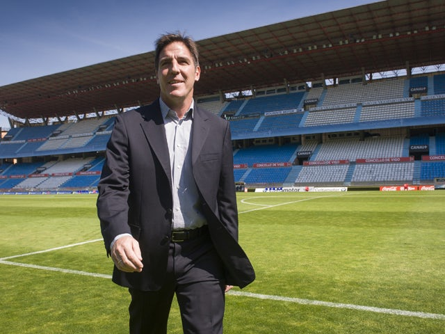 Celta de Vigo's new coach, Argentinian Eduardo Berizzo walks across the field during his presentation at the Balaidos stadium in Vigo on June 2, 2014