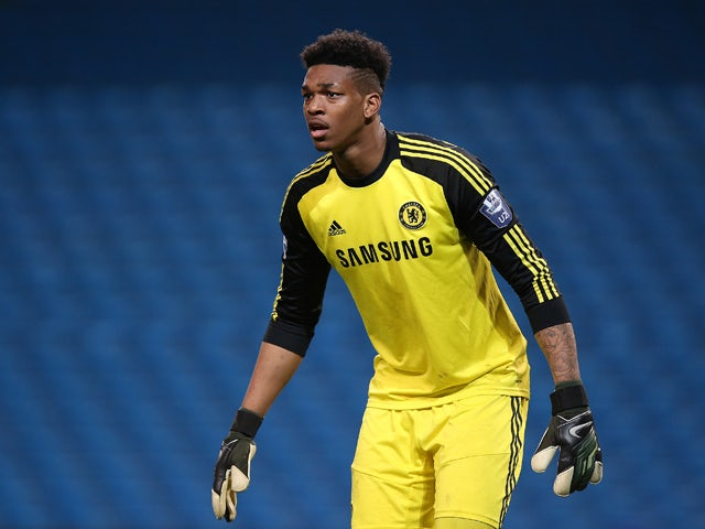Jamal Blackman, Goalkeeper of Chelsea in action during the Barclays U21 Premier League match between Manchester City U21 and Chelsea U21 at Etihad Stadium on May 1, 2014