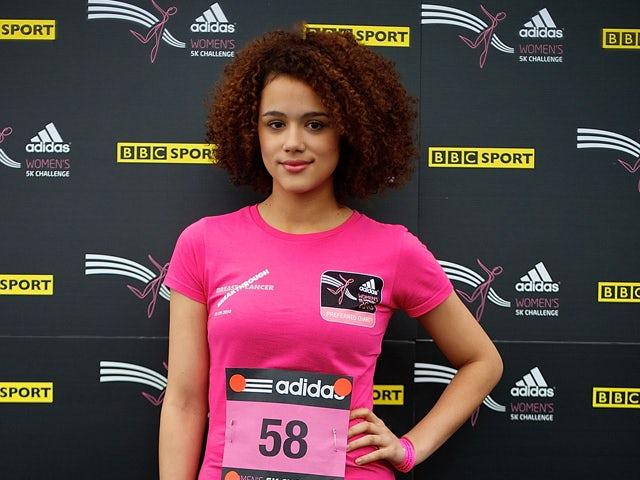 British actress Nathalie Emmanuel arrives at the adidas Women's 5K Challenge at Hyde Park on September 5, 2010