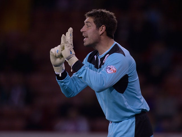 Crawley Town goalkeeper Paul Jones during the Sky Bet League One match between Sheffield United and Crawley Town at Bramall Lane on October 04, 2013