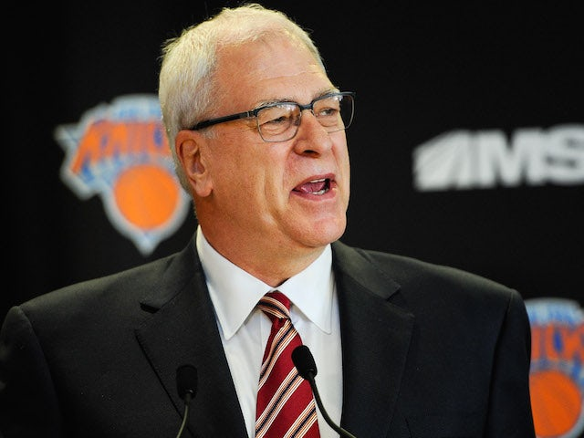 Phil Jackson addresses the media during his introductory press conference as President of the New York Knicks at Madison Square Garden on March 18, 2014