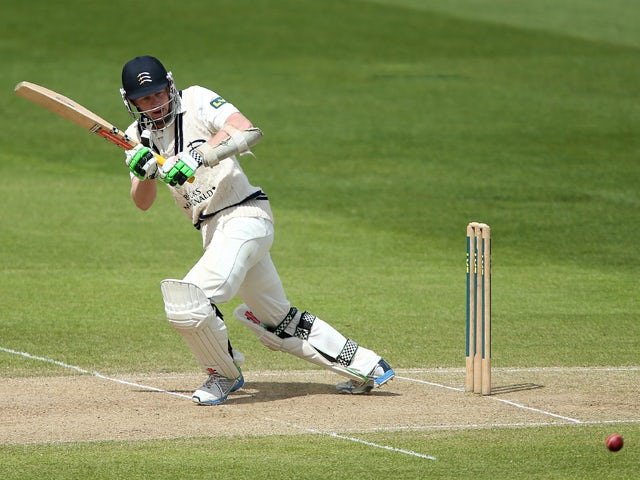 Sam Robson of Middlesex plays off his legs during the LV County Championship match between Warwickshire and Middlesex at Edgbaston on May 6, 2014