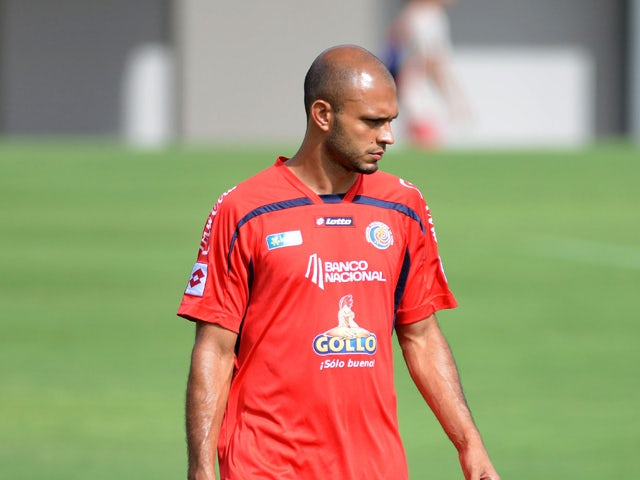 Costa Rica's national football team player Heiner Mora during a training session in Santa Ana, 22 Km west of San Jose, on May 21, 2014