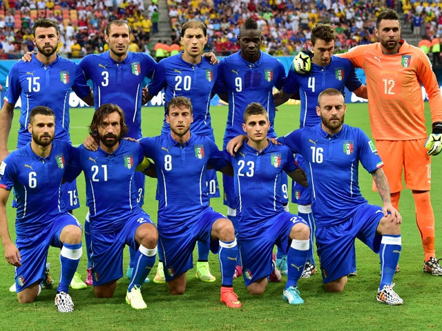 Member of Italy's national football team  pose for team photo during a Group D football match between England and Italy at the Amazonia Arena in Manaus during the 2014 FIFA World Cup on June 14, 2014