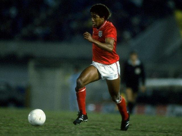 Former Liverpool winger John Barnes in action for England on June 16, 1985.