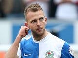 Jordan Rhodes of Blackburn Rovers celebrates his goal during the Sky Bet Championship match between Blackburn Rovers and Burnley at Ewood Park on March 9, 2014