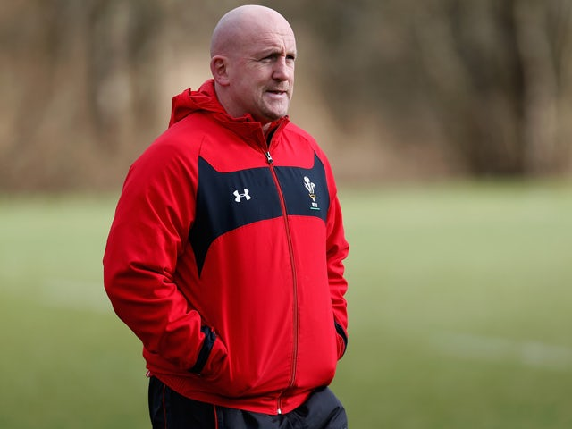 Wales defence coach Shaun Edwards looks on during a Wales training session at the Vale on March 12, 2013
