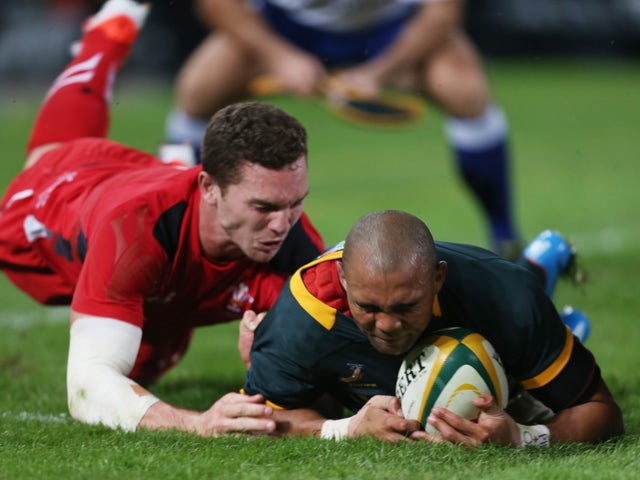 Cornal Hendricks of South Africa over for a try during the Incoming Tour match between South Africa and Wales at Growthpoint Kings Park on June 14, 2014