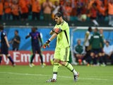 Spain's goalkeeper Iker Casillas walks back to his goal after Netherlands' forward Arjen Robben scored during a Group B football match between Spain and the Netherlands at the Fonte Nova Arena in Salvador during the 2014 FIFA World Cup on June 13, 2014