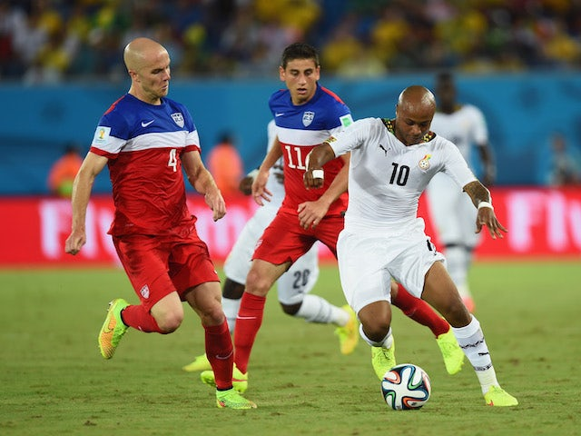 Andre Ayew of Ghana controls the ball against Michael Bradley of the United States during the 2014 FIFA World Cup Brazil Group G match on June 17, 2014