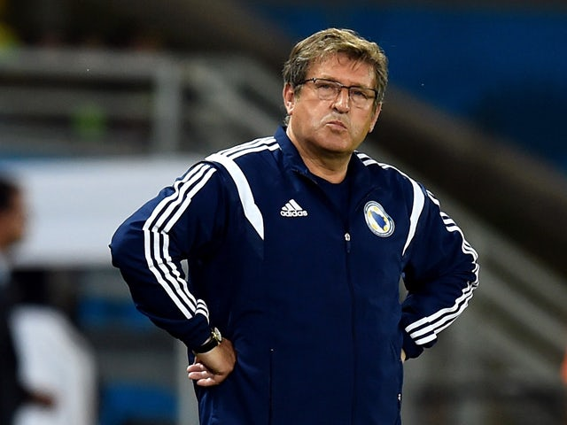 Head coach Safet Susic of Bosnia and Herzegovina looks on during the 2014 FIFA World Cup Group F match between Nigeria and Bosnia-Herzegovina at Arena Pantanal on June 21, 2014