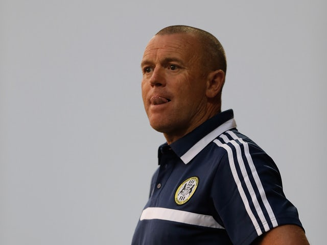Forest Green manager David Hockaday looks on during the pre season friendly match between Forest Green and Swindon Town at the New Lawn stadium on July 12, 2013