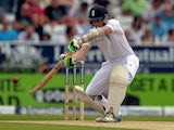 England's Sam Robson hits the ball to score his maidan century on the second day of the second Test match between England and Sri Lanka at Headingley cricket ground in Leeds, northern England on June 21, 2014