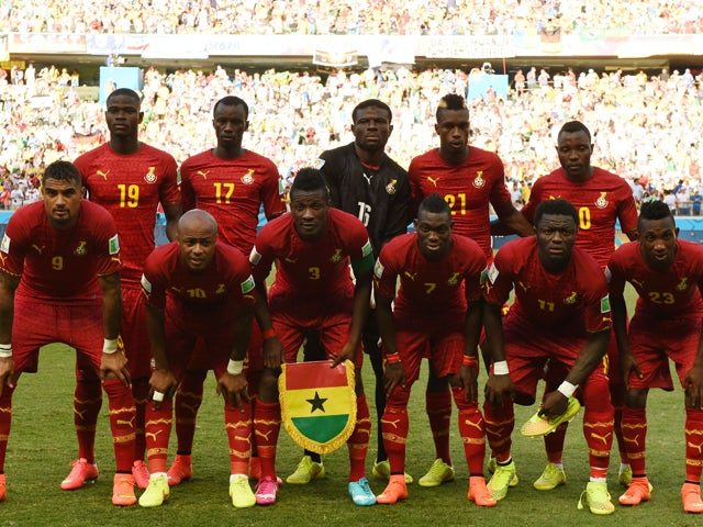 Ghana players pose prior to a Group G football match between Germany and Ghana at the Castelao Stadium in Fortaleza during the 2014 FIFA World Cup on June 21, 2014
