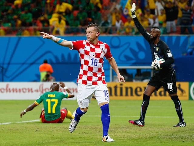 Ivica Olic celebrates scoring Croatia's first goal against Cameroon on June 18, 2014.