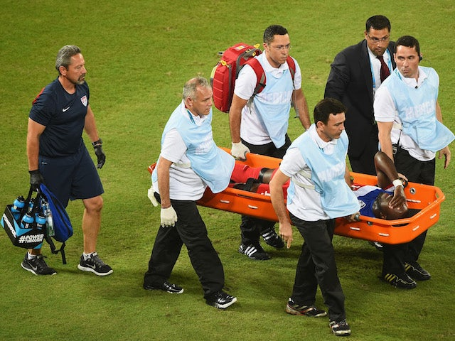 Jozy Altidore of the United States is stretchered off the field after an injury during the 2014 FIFA World Cup Brazil Group G match on June 17, 2014