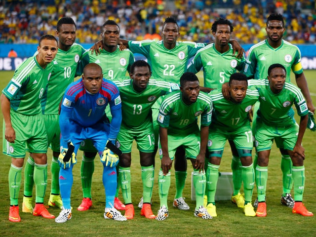 Nigeria players pose for a team photo prior to the 2014 FIFA World Cup Group F match between Nigeria and Bosnia-Herzegovina at Arena Pantanal on June 21, 2014