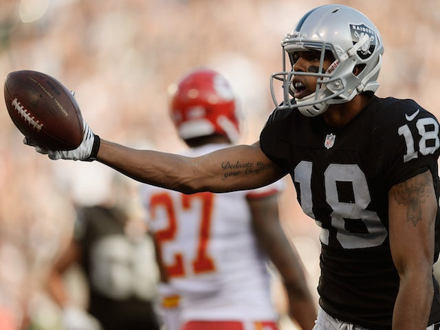 Andre Holmes #18 of the Oakland Raiders celebrates after catching a six yard touchdown pass against the Kansas City Cheifs on December 15, 2013