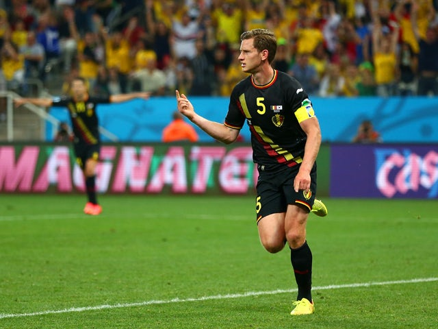 Jan Vertonghen of Belgium celebrates scoring his team's first goal during the 2014 FIFA World Cup Brazil Group H match between South Korea and Belgium at Arena de Sao Paulo on June 26, 2014