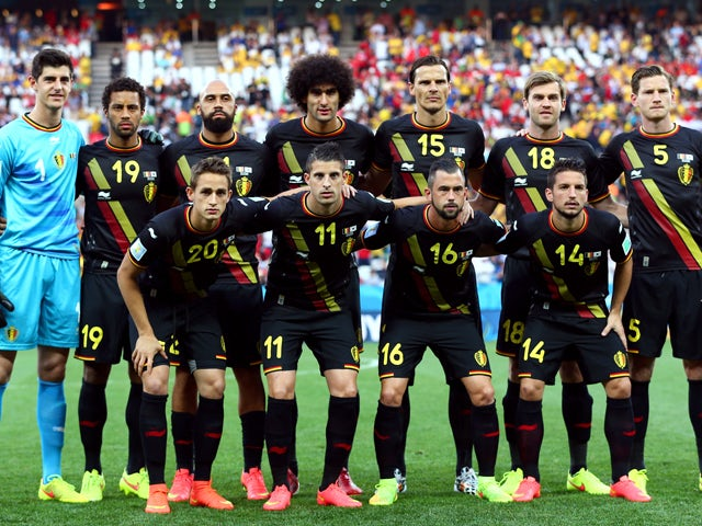 Belgium players pose for a team photo during the 2014 FIFA World Cup Brazil Group H match between South Korea and Belgium at Arena de Sao Paulo on June 26, 2014