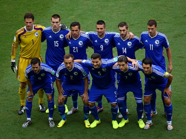 Bosnia and Herzegovina players pose for a team photo prior to the 2014 FIFA World Cup Brazil Group F match between Bosnia and Herzegovina and Iran at Arena Fonte Nova on June 25, 2014