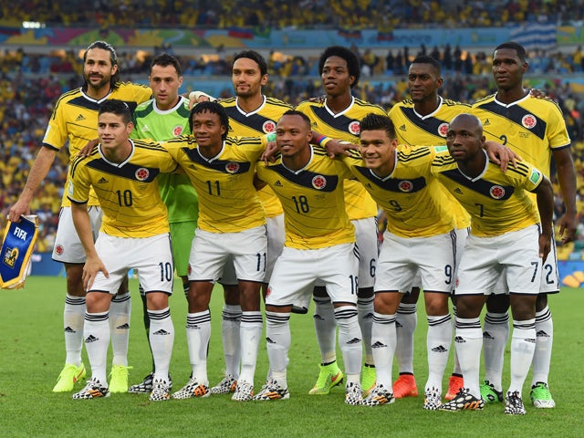 Colombia pose for a team photo prior to the 2014 FIFA World Cup Brazil round of 16 match between Colombia and Uruguay at Maracana on June 28, 2014