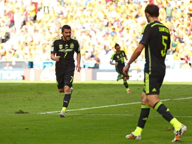 Spain's David Villa celebrates scoring the opener against Australia on June 23, 2014.