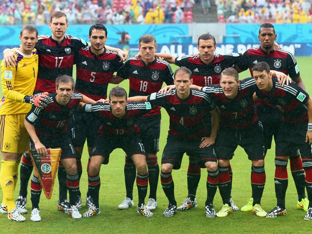 Germany pose for a team photo prior to the 2014 FIFA World Cup Brazil group G match between the United States and Germany at Arena Pernambuco on June 26, 2014