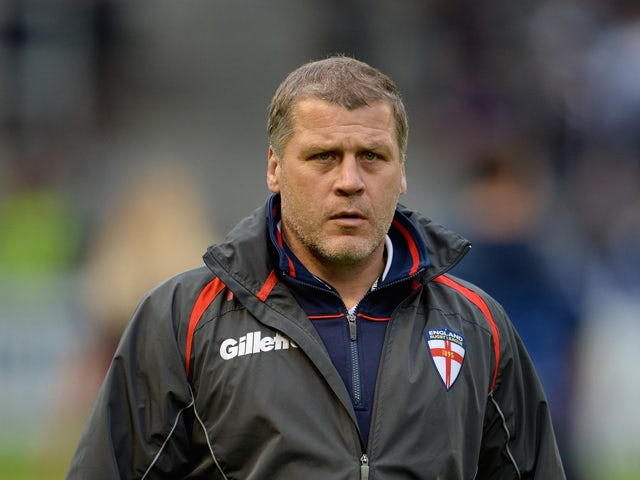 England coach James Lowes during the International Origin Match between England and Exiles at The Halliwell Jones Stadium on June 14, 2013