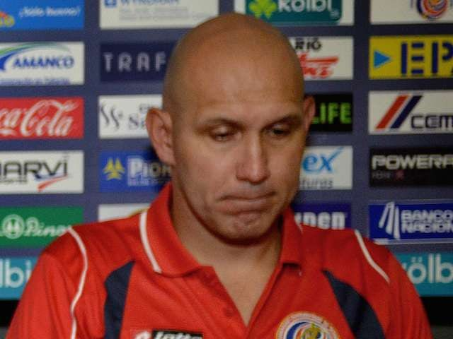 Costa Rica assistant Luis Marin during a press conference on May 12, 2014