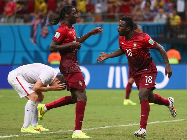 Silvestre Varela of Portugal celebrates scoring his team's second goal during the 2014 FIFA World Cup Brazil Group G match between the United States and Portugal at Arena Amazonia on June 22, 2014