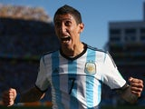 Argentina's Angel di Maria celebrates his late winner against Switzerland in their World Cup round of 16 match in Sao Paulo on July 1, 2014