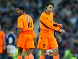 Patrick Kluivert and Ruud van Nistelrooy in action for Holland against Scotland on November 15, 2003.