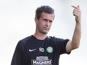 Manager Ronny Deila of Celtic Glasgow reacts on the touchline during the Pre Season Friendly between SK Rapid Wien and Celtic Glasgow at Gerhard-Hanappi-Stadium on July 6, 2014