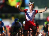 Alexander Kristoff of Norway and Team Katusha celebrates winning stage twelve of the 2014 Tour de France, a 186km stage between Bourg-en-Bresse and Saint-Etienne, on July 17, 2014