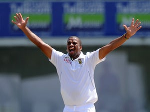South Africa cricketer Vernon Philander appeals during the third day of the opening Test match between Sri Lanka and South Africa at the Galle International Cricket Stadium in Galle on July 18, 2014