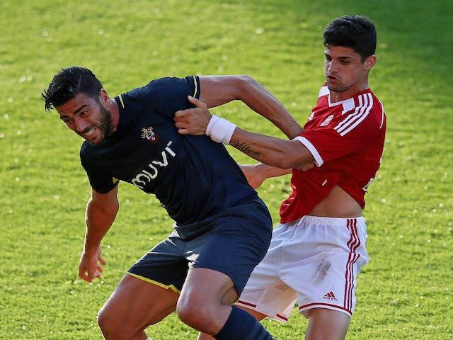 Graziano Pelle of Southampton in action during the Pre Season Friendly between Swindon Town and Southampton on July 21, 2014